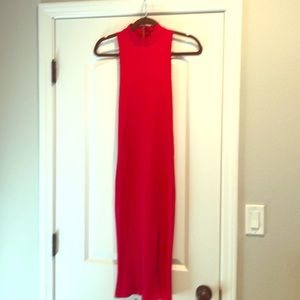 Bright red, skinny column dress, midi-length